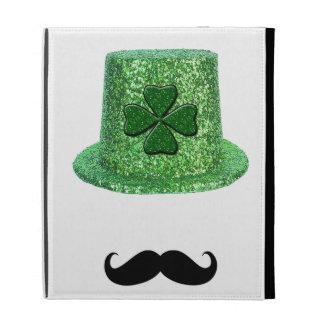 St. Patrick's Day Shamrock Sparkle Hat & Mustache iPad Folio Cases