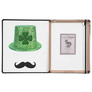St. Patrick's Day Shamrock Sparkle Hat & Mustache iPad Folio Cover