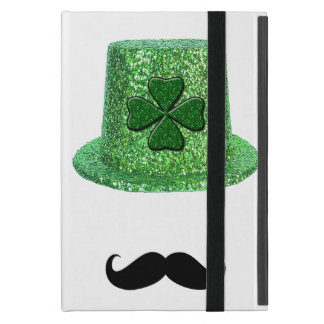 St. Patrick's Day Shamrock Sparkle Hat & Mustache iPad Mini Cover