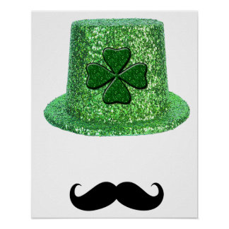 St. Patrick's Day Shamrock Sparkle Hat & Mustache Posters