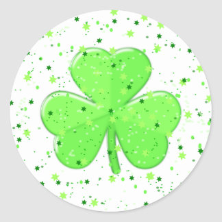 St Patrick's Day Shamrock with Stars and Speckles Round Sticker