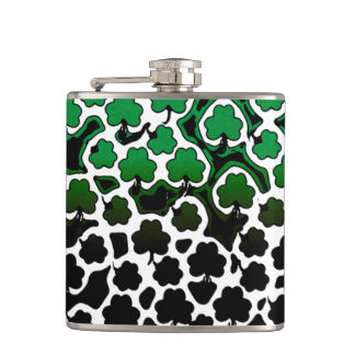 St. Patrick's Day shamrocks Hip Flask