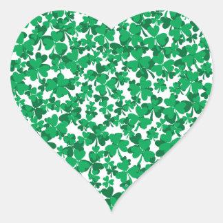 St Patrick's Day Shamrocks Heart Sticker