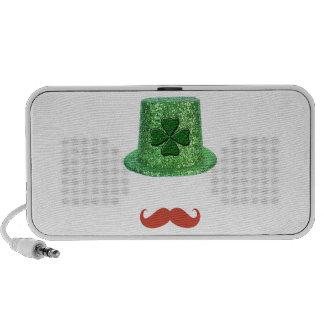St Patrick's Day Sparkle Hat & Ginger Mustache Mp3 Speaker