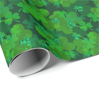 St. Patrick's Day Sparkling Shamrock Gift Wrap Wrapping Paper