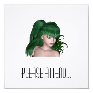 St. Patrick's Day Sprite 1 - Green Fairy 5.25x5.25 Square Paper Invitation Card