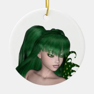 St. Patrick's Day Sprite 1 - Green Fairy Round Ceramic Decoration