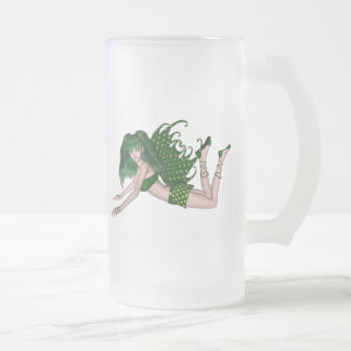 St. Patrick's Day Sprite 2 - Green Fairy Frosted Glass Mug