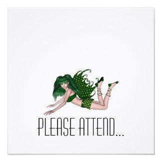 St. Patrick's Day Sprite 2 - Green Fairy 5.25x5.25 Square Paper Invitation Card