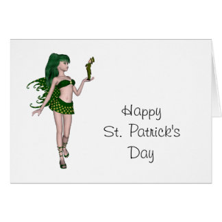 St. Patrick's Day Sprite 3 - Green Fairy Greeting Card