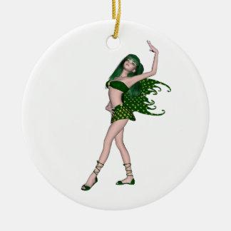 St. Patrick's Day Sprite 4 - Green Fairy Round Ceramic Decoration