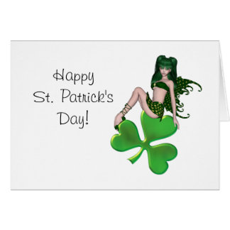 St. Patrick's Day Sprite 7 - Green Fairy Greeting Card