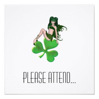 St. Patrick's Day Sprite 7 - Green Fairy 5.25x5.25 Square Paper Invitation Card
