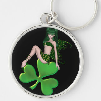St. Patrick's Day Sprite 7 - Green Fairy Silver-Colored Round Key Ring