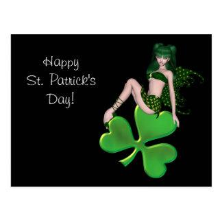 St. Patrick's Day Sprite 7 - Green Fairy Postcard