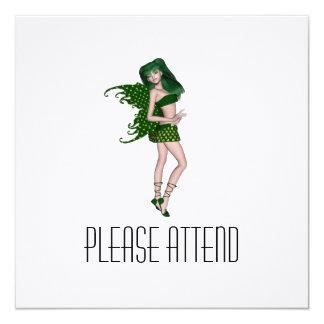 St. Patrick's Day Sprite 8 - Green Fairy 5.25x5.25 Square Paper Invitation Card