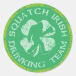 St Patrick's Day Squatch Irish Drinking Team Round Sticker