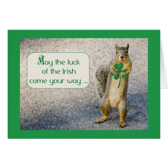 St. Patrick's Day, Squirrel, Humourous Card