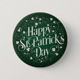 St. Patrick's Day - Swirled Word Art 6 Cm Round Badge