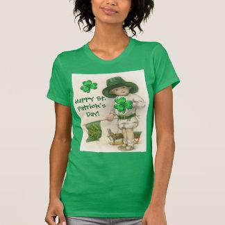 St. Patrick's Day Vintage Art Ladies Basic T-Shirt
