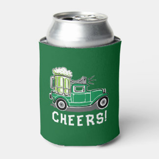 St Patrick's Day Vintage Truck Green Beer Can Cooler