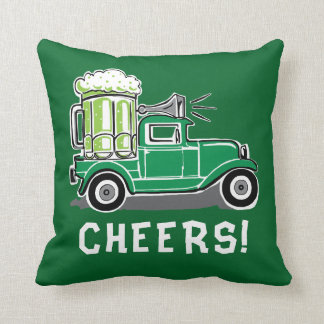 St Patrick's Day Vintage Truck Green Beer Cushion