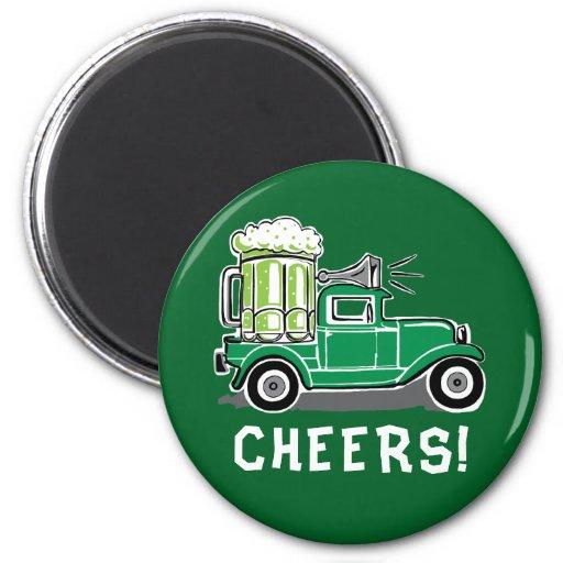 St Patricks Day Vintage Truck Green Beer Magnet
