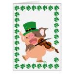 St Patrick's Day violinist pig notecard