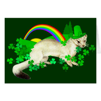 St. Patrick's Day Weasel Greeting Card