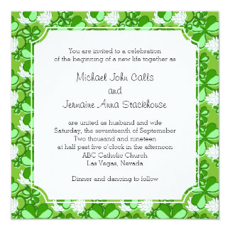 "St. Patrick's Day Wedding Green Shamrock Ireland 5.25"" Square Invitation Card"