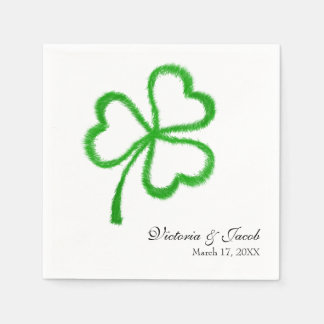 St. Patrick's Day Wedding Shamrock Paper Napkins