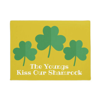 St. Patrick's Day Welcome Mat | Kiss Our Shamrock