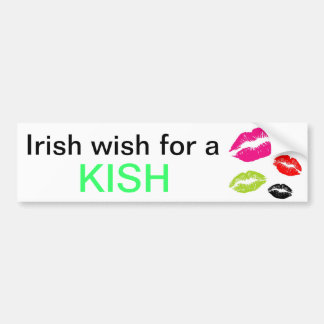 St. Patrick's day wish for a kiss irish Car Bumper Sticker