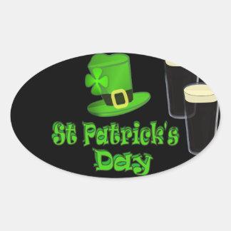 St Patricks Day with Hat Oval Sticker
