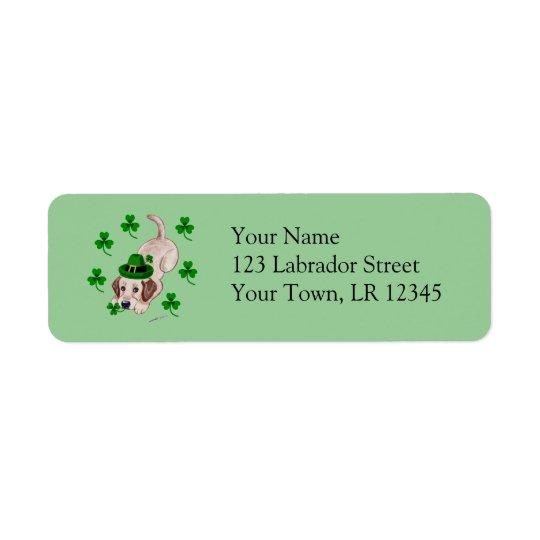 St. Patrick's Day Yellow Labrador Puppy Return Address Label