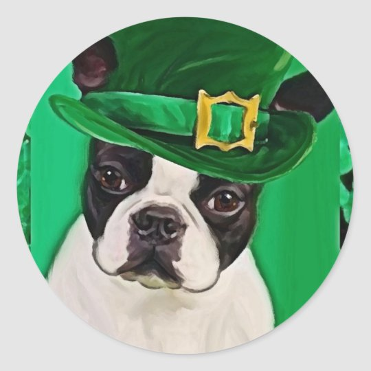 st patricks dog classic round sticker