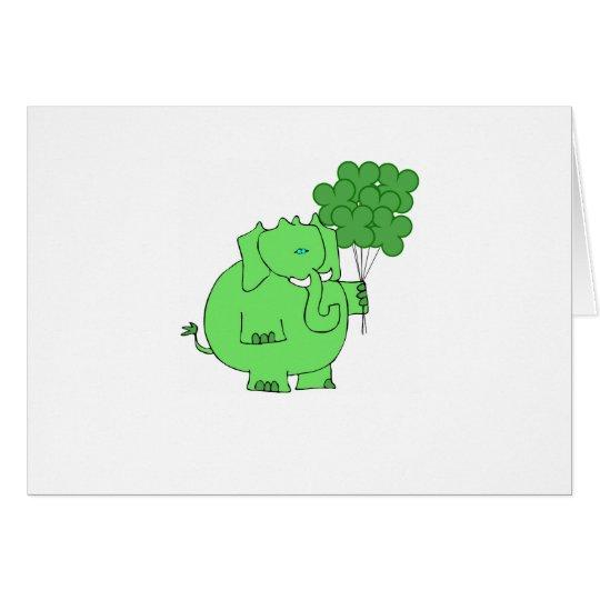 St. Patricks Elephant and Clovers design Card