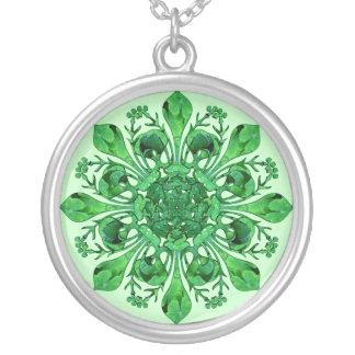 St. Patrick's Fleur de lis Round Pendant Necklace