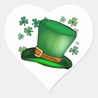St.Patrick's Green Shamrocks and hat fun card Heart Sticker