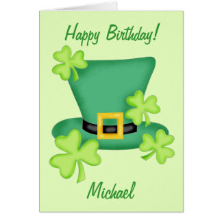 St. Patrick's Happy Birthday Name Personalized Card