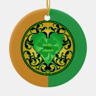 St. Patrick's Heart Double-Sided Ceramic Round Christmas Ornament