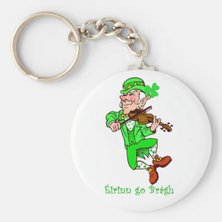 St. Patrick's Leprechaun playing fiddle Basic Round Button Key Ring
