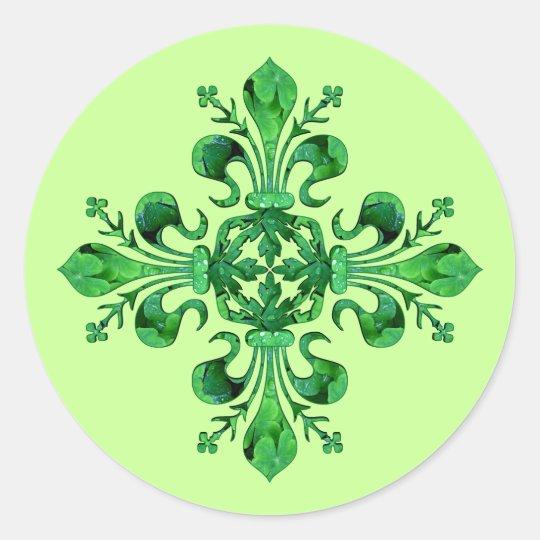 St. Patrick's Lucky Fleur de lis Classic Round Sticker