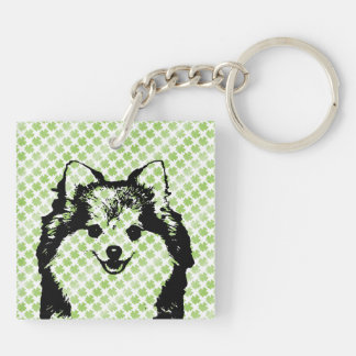 St Patricks - Pomeranian Silhouette Key Chain