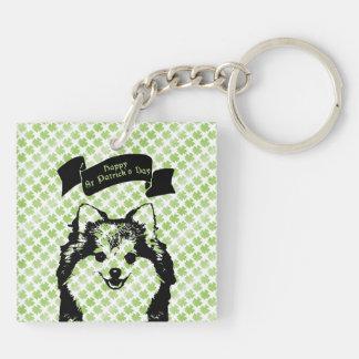 St Patricks - Pomeranian Silhouette Keychains