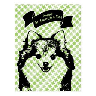 St Patricks - Pomeranian Silhouette Postcard