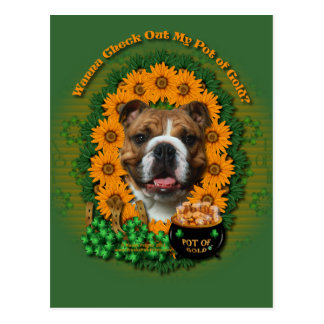 St Patricks - Pot of Gold - Bulldog Postcard