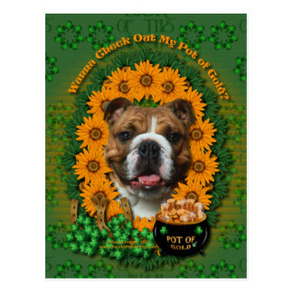 St Patricks - Pot of Gold - Bulldog Postcard