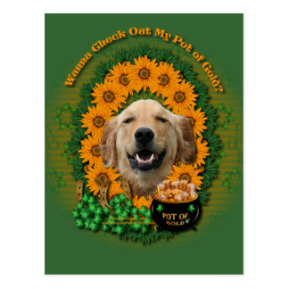 St Patricks - Pot of Gold -Golden Retriever Mickey Postcard