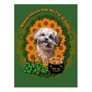 St Patricks - Pot of Gold - ShihPoo - Maggie Postcard